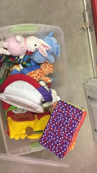 Assorted baby toys- includes the plastic tote Regina, S4N 6M5