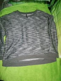 Pull à col rond gris