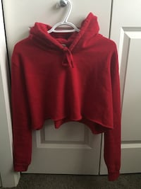 Cropped red hoodie Calgary