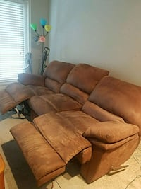 brown suede 3-seat recliner sofa 17 mi