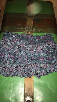 pink and teal floral mini skirt 32 km