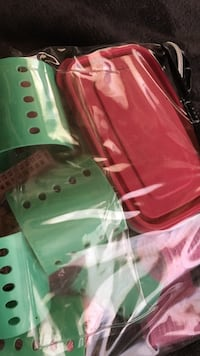 Green plastic container lot