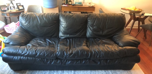 Amazing leather couch with ottoman