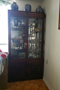 Cherry Wood Framed Glass Display Cabinet