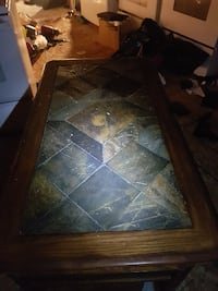 rectangular brown wooden framed glass top coffee table Hamilton