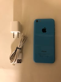 blue iPhone 5c with charger