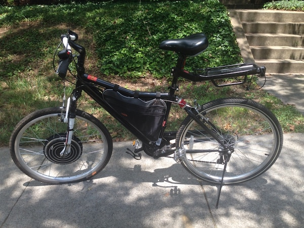 Electric black and red full suspension bike