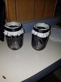 two black candle holders