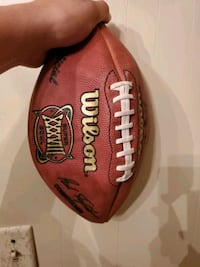 Football from superbowl Panthers at New Eangland