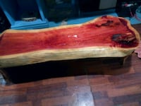 rectangular brown and red wood log bench Youngsville, 70592