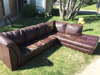 brown leather 3-seat sofa St Albert, T8N 2J3
