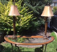 two brown table lamps