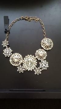 Gold chain link with diamond clustered chandelier necklace