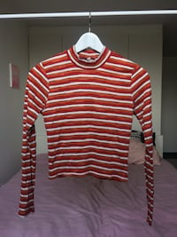 White-orange-and-red striped top