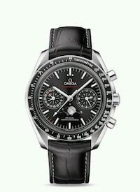 round silver-colored chronograph watch with black leather strap Montréal, H4L
