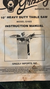 """Grizzly 10"""" heavy duty table saw Accident, 21520"""