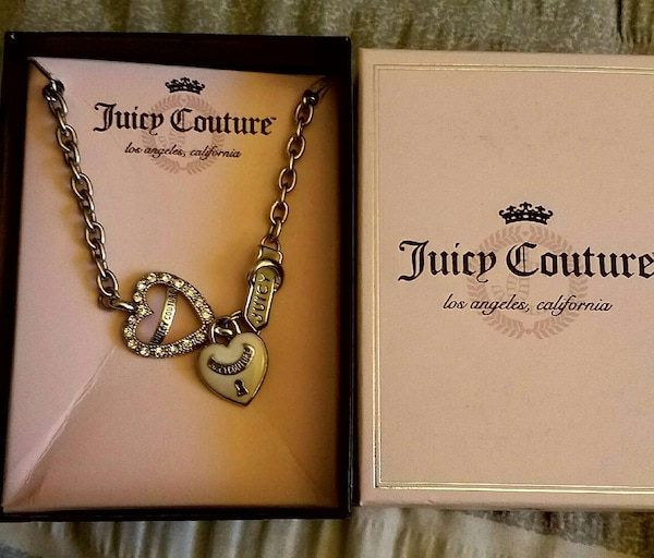 483eee8ea Used heart shaped silver pendant Juicy Couture silver chained necklace in  box for sale in Sacramento - letgo
