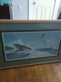 black and white wooden framed painting of sea Haverhill, 01830