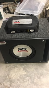 Black and gray mtx audio subwoofer and monoblock amplifier