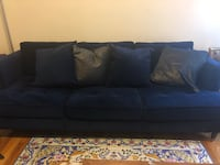 Blue Velvet Couch with Pillows San Francisco, 94108