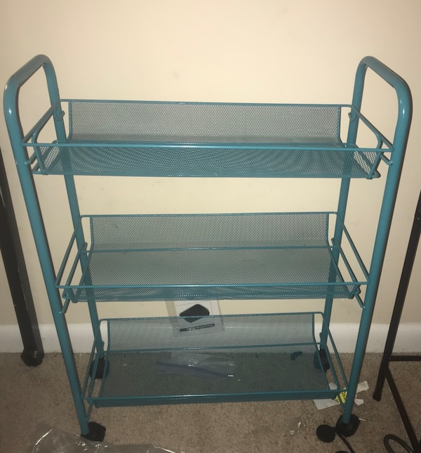 Metal turquoise rolling rack