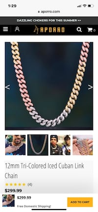 12mm Tri-Colored Iced Cuban Link Chain *18, 24 inch length available Reston, 20191