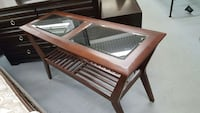 rectangular brown wooden framed glass coffee table Toronto, M9W 1P6