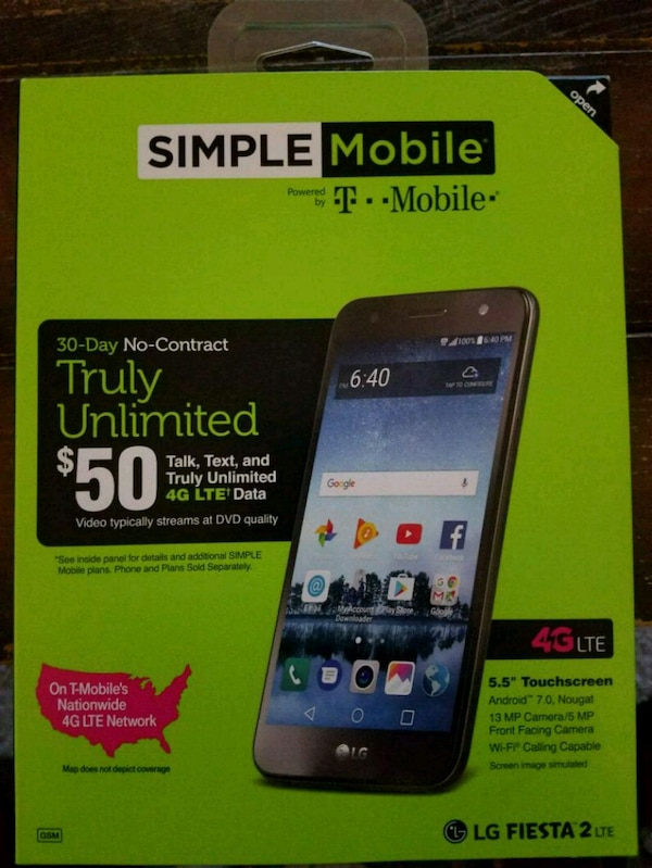 Brand New Simple Mobile,Sim Kit and $50 Refillcard