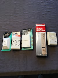 Electric multi outlet adapters, lot of 5, new