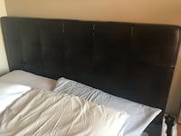 Barely used full bed - includes frame, mattress and brown leather padded headboard New York