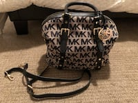 Monogrammed brown and black michael kors leather tote bag 557 km