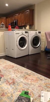 white front-load washer and dryer set 50 km