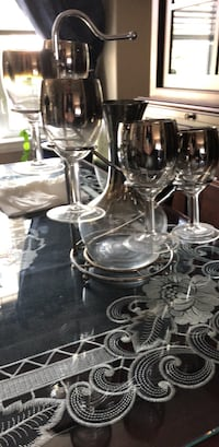 Silver and glass wine decanter, 6 glasses and stand Calgary, T2Z 4P8