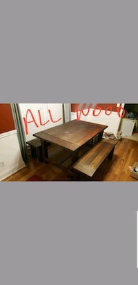 All wood table and matching benches Columbus