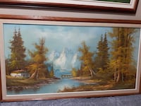 green forest in river painting with brown wooden frame