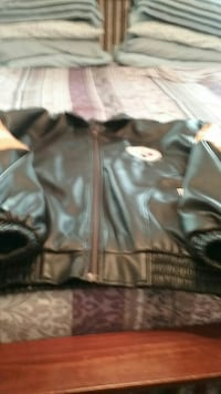 black leather zip-up jacket medium size