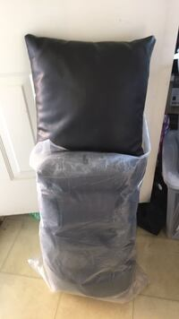 6 black leather cushions  Vancouver, V5M 1J2