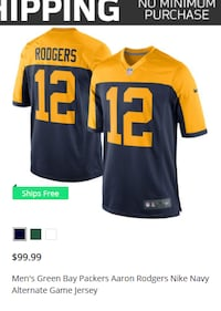 yellow and black Rodgers 12 jersey