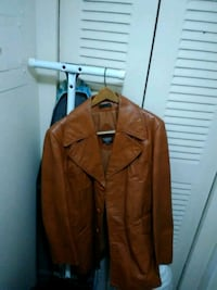 brown leather button-up jacket null