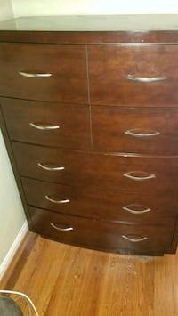 brown wooden 5-drawer tallboy dresser 57 km