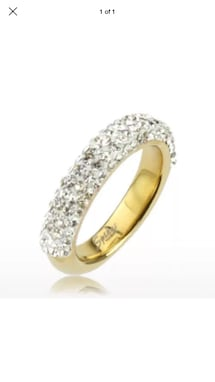 14k Gold Plated Over Stainless Steel Band With Multiple CZ Size 6,7