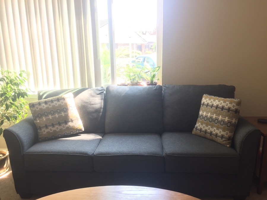 Living Spaces Grey Couch ($300) And Loveseat ($200) Excellent Condition