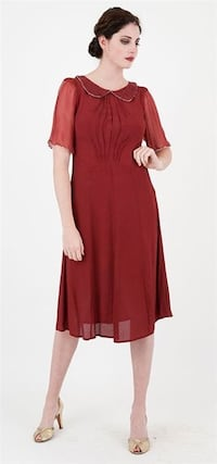 women's red elbow-sleeved collared midi dress Greenville, 29611