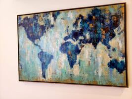 """World Map Painting 25"""" x 37"""""""