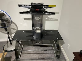 Metal and gloss glass TV stand with mount