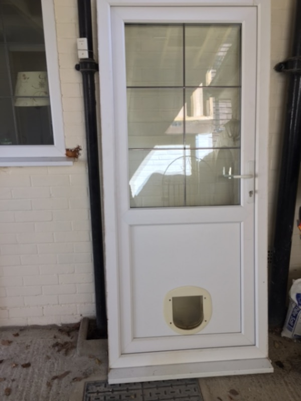 Used Upvc Back Door With Frame And Catflap For Sale In London Letgo