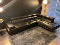 Black leather 3-seat sofa Alexandria, 22302
