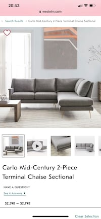 Sectional Sofa (modern design west elm) San Diego, 92103