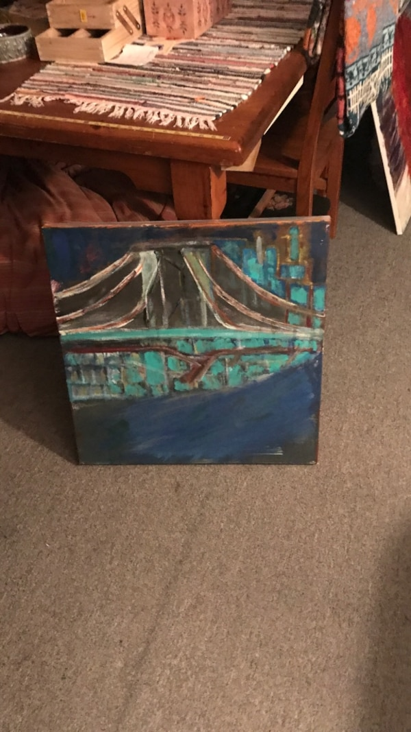 green, blue, and brown abstract painting