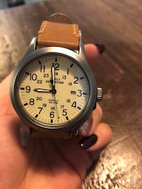 round silver-colored chronograph watch with brown leather strap Guelph, N1E 0B3